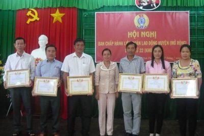 LĐLĐ huyện Vĩnh Thuận Sơ kết hoạt động Công đoàn 6 tháng đầu năm 2017