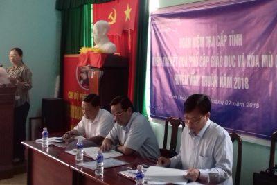 Đoàn kiểm tra cấp tỉnh kiểm tra công tác phổ cập giáo dục- xóa mù chữ huyện Vĩnh Thuận năm 2018