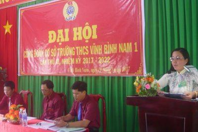 Công đoàn trường Trung học cơ sở Vĩnh Bình Nam 1 tổ chức đại hội lần thứ XI, nhiệm kỳ 2017-2022
