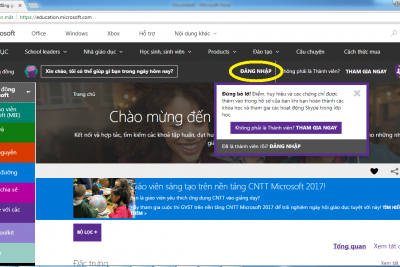 Đăng ký thành viên trên trang Education Microsoft